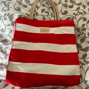 NEW Red and white stripped Lancôme tote
